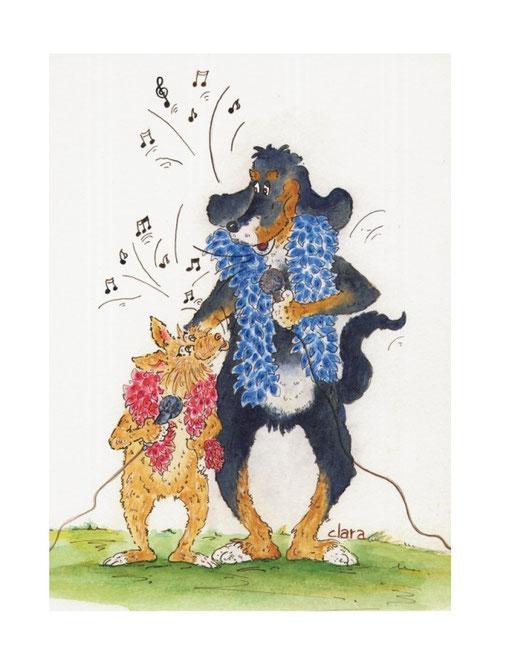 Zwei Hunde singen. Hund mit Federboa und Mikrofon. Ein Cartoon von zwei Hunden die zusammen singen