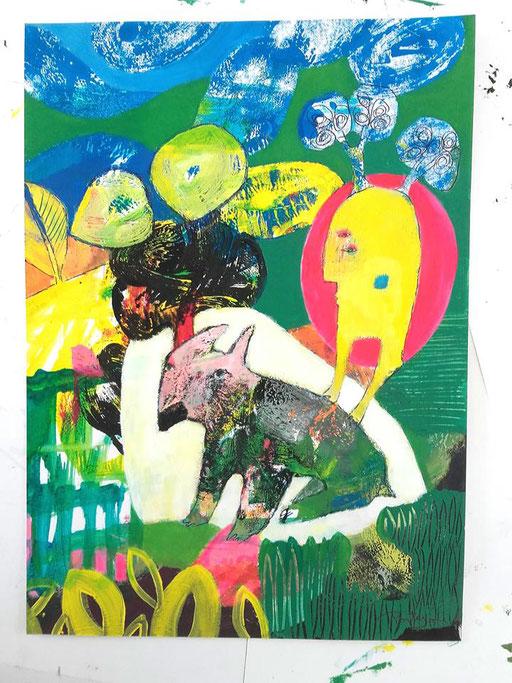 """peinture sur papier 40x30cm """"le loup rêve"""""""