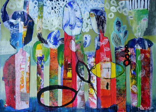 """peinture sur papier 50x70cm """" les sages """""""