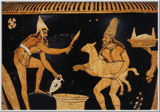 Rappresentazione di un sacrificio nell'antica grecia