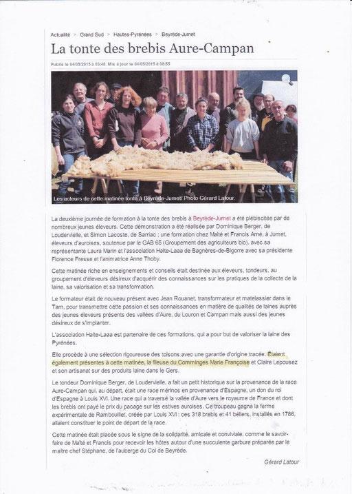 La Dépèche du Midi 4 mai 2015