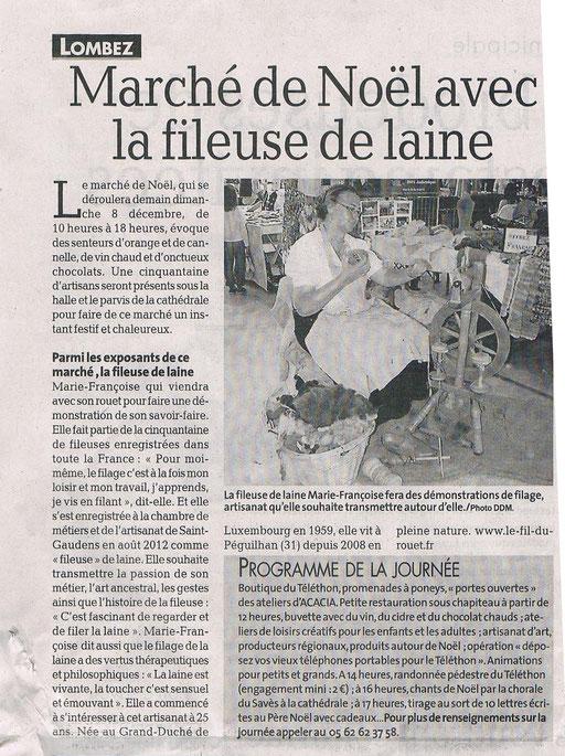La Dépèche du Midi GERS publication le 07 décembre 2013