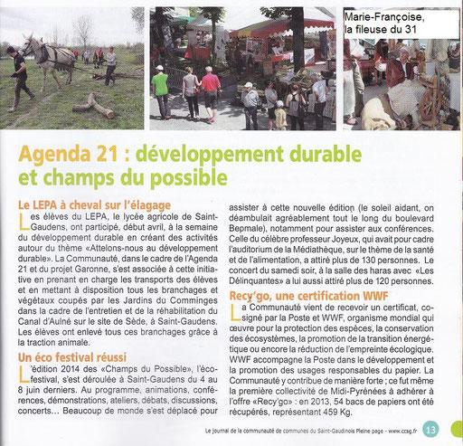 Le journal de la Communauté de Communes du Saint-Gaudens *PLEINE PAGE*