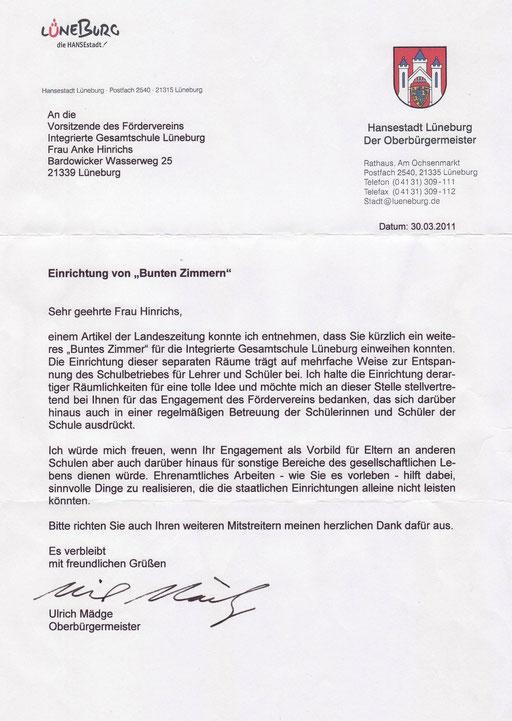 Brief vom OB Mägde zum Bunten Zimmer an der IGS Lüneburg