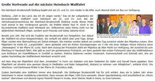 Bericht Stolberger Nachrichten 25.6.2014