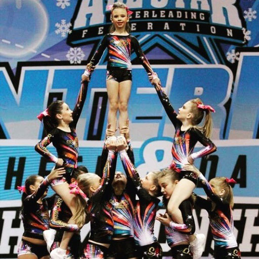 Flying high with the cheer team from Seriously Dance