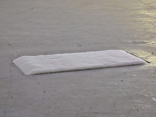 Fließender Flokati. fließt langsam und stetig. Sportlerlaufband, Motor, Teppich. Städtische Ausstellungshalle am Hawerkamp, Münster 2001