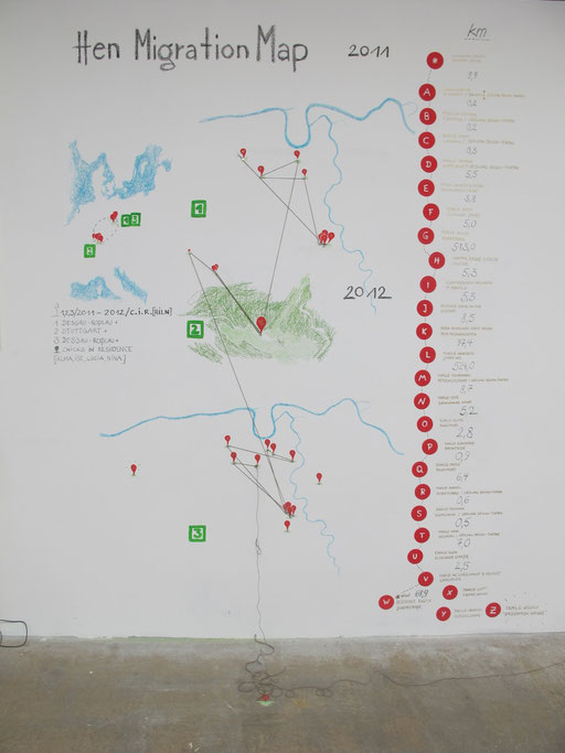 Chicks On Speed - Hen Migration Map;  In Our Backyards - Ansicht Ausstellung; Werkschau, Leipzig 2012