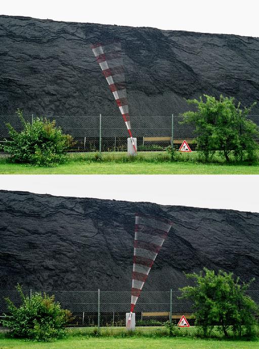 Maloche-Metronom, 5,80m Schrankenbaum schlägt kontinuierlich aus, Kraftwerk Bergkamen-Heil 2002