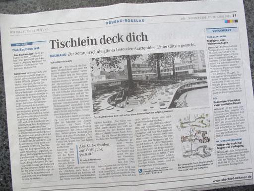 Mitteldeutsche Zeitung 26.04.2013, Artikel von Heidi Thiemann