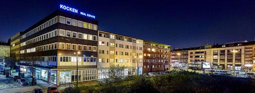 Frank Kocken Real Estate - beleuchteter Einzelbuchstabenschriftzug auf Dach