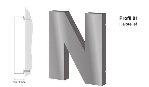 Einzelbuchstaben im Profil 1 (unbeleuchtet, wahlweise mit oder ohne Unterteil)