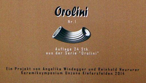 "Bild:Druckgrafik auf Karton für die Serie""Orolini"" Keramiksymbosium Unzone Kiefersfelden 2014"