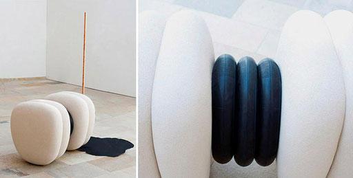 """Bild:Rauminstalation aus Keramik,Gummischläuchen,Kupferrohre in der Ausstellung """"Freiraum Kunstlabor Lift off"""" Galerie K-Hof Kammerhof Museen Gmunden"""