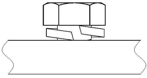 ばね座金がボルトと被締結材に食い込むイメージ図です。
