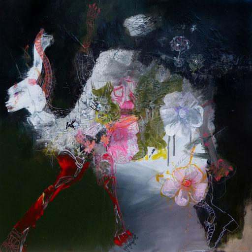 """""""La gazelle autruche"""". Acrylique sur toile. Dim 90cmx90cm"""