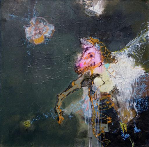 """""""La Reine licorne"""". Acrylique sur toile. Dim 100cmx100cm"""