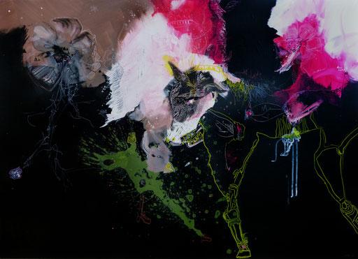 """""""Le loup et l'oiseau"""".  Acrylique sur toile. Dim 95cmx130cm"""