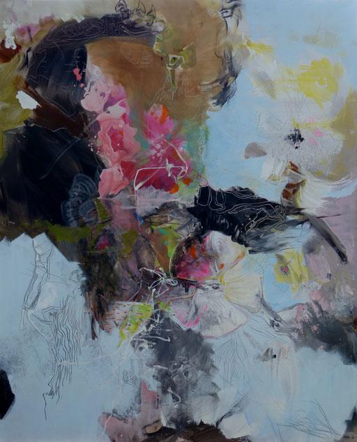 """""""La méduse et sa sirène"""" Acrylique sur toile Dim 163cmx130cm"""