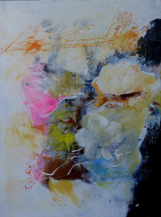 """""""Le Roi serpent"""" et la panthère"""". Acrylique sur toile. Dim 130cmx96cm"""