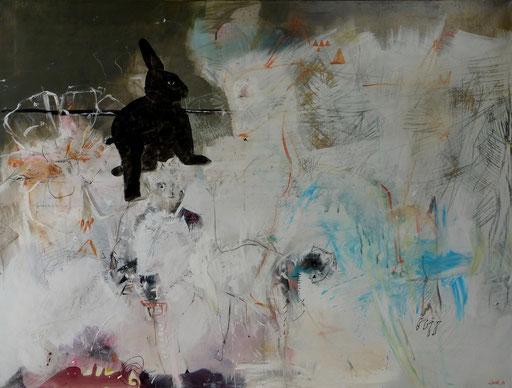 """La biche son chat et le roi lapin"""". Acrylique sur toile. Dim90cmx116cm"""