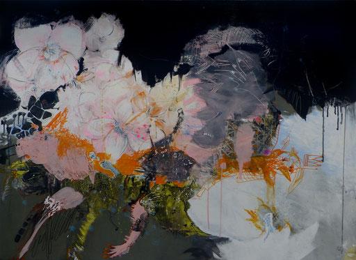 """""""L'Oiseau licorne"""". Acrylique sur toile Dim 96cmx130cm"""