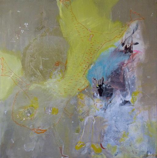 """""""La grenouille Lune"""" Acrylique sur toile. Dim100cmx100cm"""