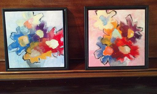 Des fleurs pour Liliane 1/2 - 25 x 25xm - Acrylique @tousdroitsréservésSylvainDemers2016 VENDUES