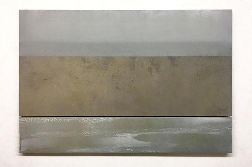 Scaletta VII  2019   Kunstharz, Pigment, Steinmehl, Ölfarbe  auf Holz  2 Teile  65 x 130 cm / 21,7 x 130 cm
