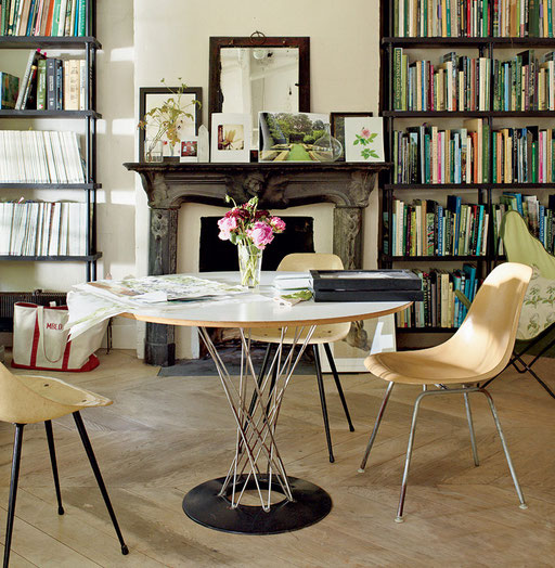 PHOTO CREDIT: Miranda Brooks and Bastien Halard's Brooklyn Home  Photographed by François Halard in VOGUE magazine, featuring a Noguchi table and eames side shell chairs by Herman Miller.