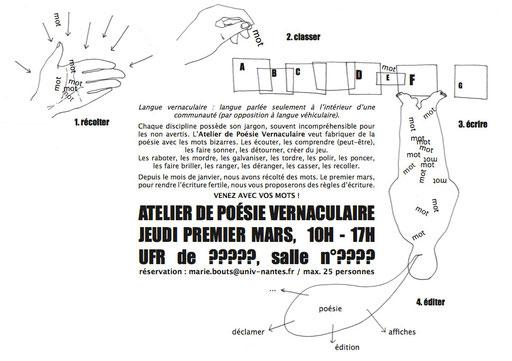 Essai de flyers d'invitation à participer à l'atelier : un A4 plié en deux