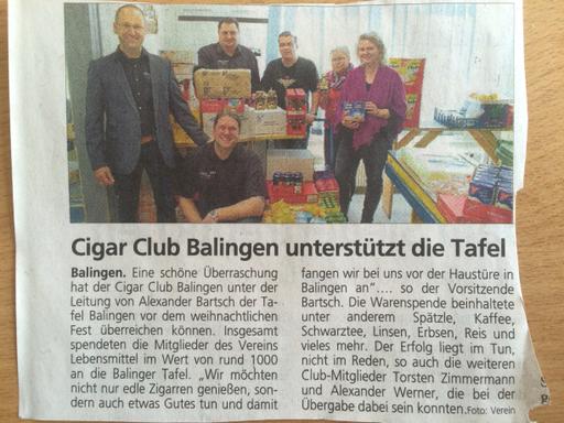 Der Cigar Club Balingen unterstützt die Tafel in Balingen