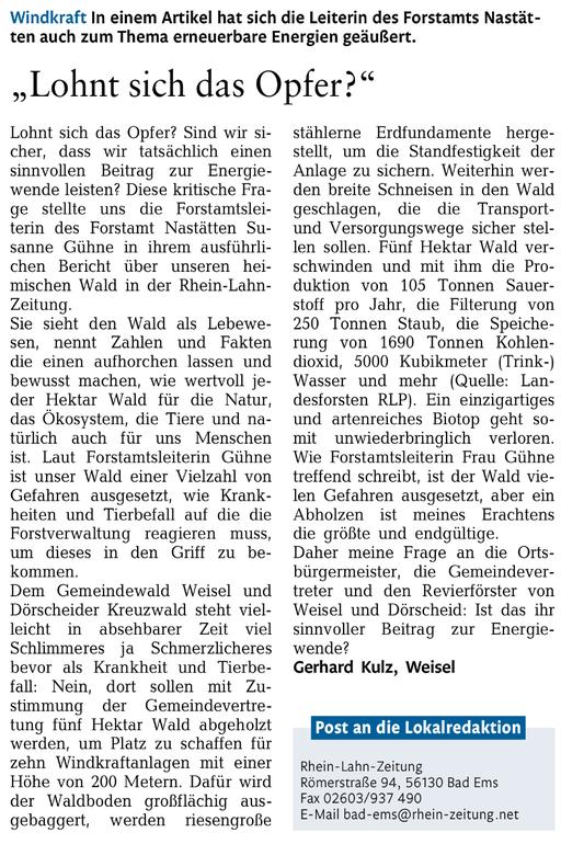 Rhein-Lahn-Zeitung v. 21.07.2015