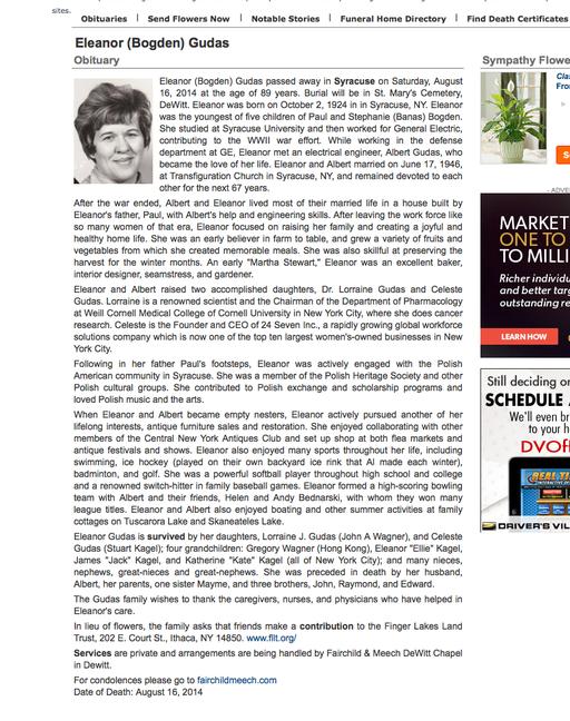 Obituary, Eleanor Bogden Gudas