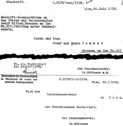 Brief von NS-Kulturstaatssekretär Kajetan Mühlmann an die Eigentümer des Hitler-Geburtshauses, vom 20.07.1938 (Ausschnitt); Quelle: Braunau History