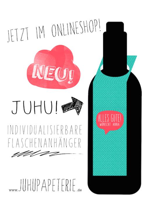 Flaschenanhänger Weinanhänger individualisierbar Juhu Papeterie