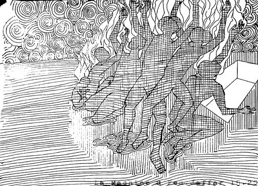 Zapoï Life : La machine à feu - Pen on paper, scan & print , 2015, poetry