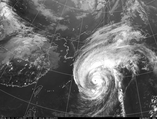台風19号 気象衛星写真