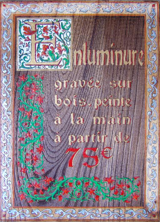 enluminure sur bois peinte à la main