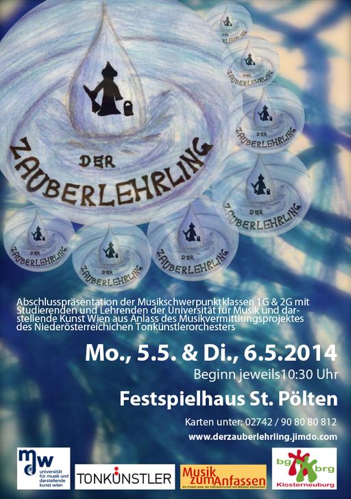 Logo von Hannah Furtmüller - 2G; Hintergrund des Plakates gestaltet von Schüerinnen und Schülern der 2G; Prof. Renate Kehldorfer - Kunstpädagogin der Klasse 2G;  Prof. Christian Exel - Musikpädagoge & Klassenvorstand - graphische Gestaltung