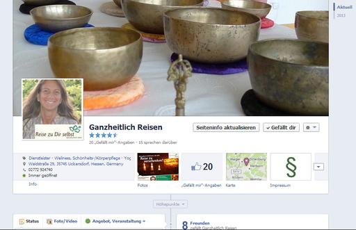 Facebook-Fanpage von Ganzheitlich Reisen