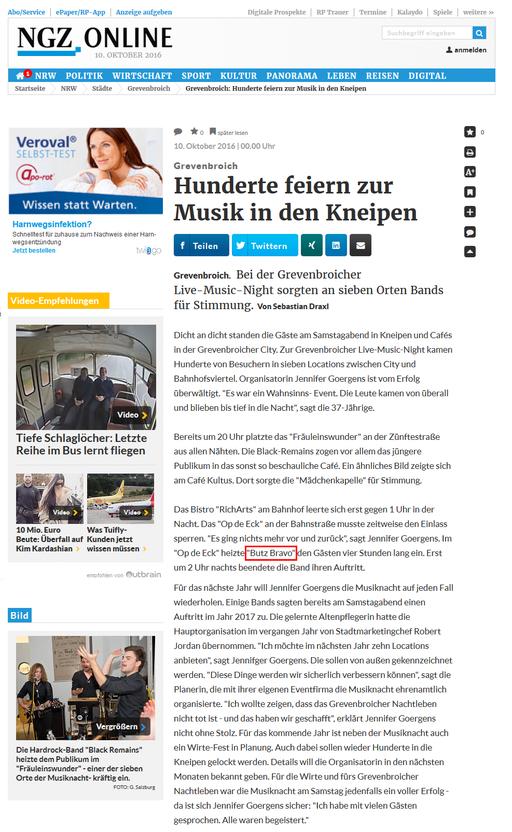 Ausschnitt aus der Neuss-Grevenbroicher Zeitung Online vom 10.10.2016
