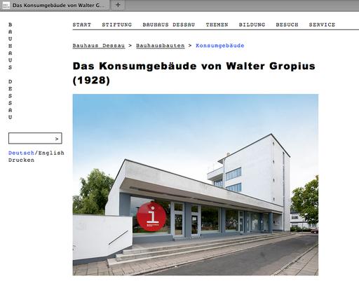 Webseite Bauhaus Dessau mit weiteren Informationen