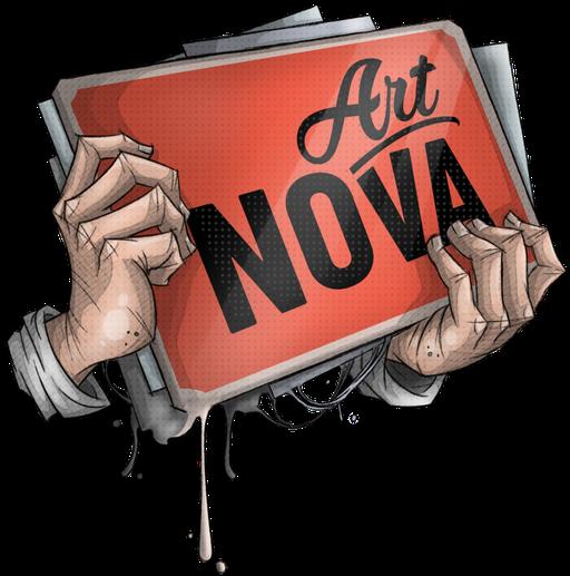 das Logo der Homepage art-nova.de eine Hand die eine Schild mit dem Schriftzug hält.