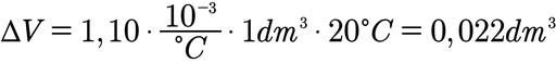 Beispielaufgabe zur Berechnung der Volumenausdehnung bei einer Temperaturänderung