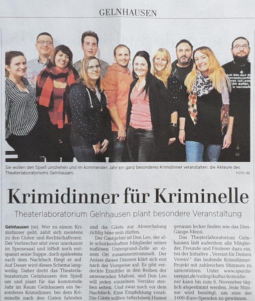 """Pressevorbericht zu unserer szenischen Poe-Lesung im Lorbass - erschienen am 28.03.2015 im """"Gelnhäuser Tageblatt""""."""