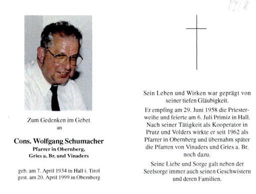 Unser Gründungsmitglied Wolfgang Schumacher