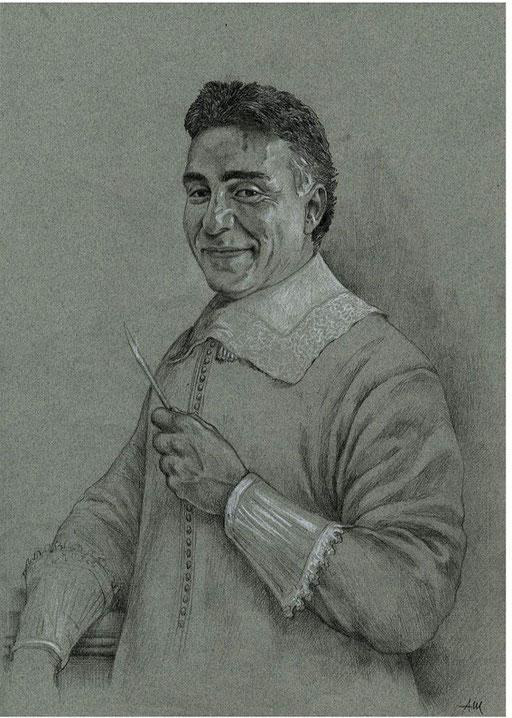 CHIRURGO PLASTICO, COME UN CERUSICO SEICENTESCO, di A,Molino. Matita su carta, 2002