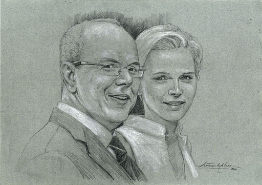 ALBERTO E CHARLENE, by A.Molino. Pencil on blue-grey paper, 2014.