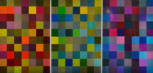 """Triptychon """"Dans L' espace de couleur CIELab""""  2015 encre d'imprimerie sur aluminium  100 x 210 cm"""